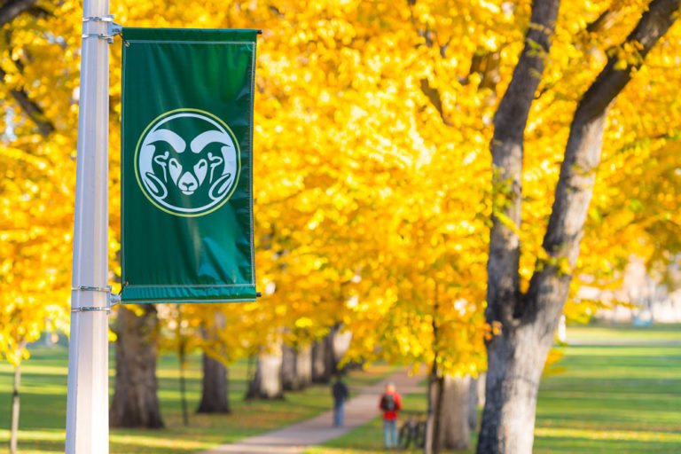 Fall colors glow on the Colorado State University campus, October 20, 2017.