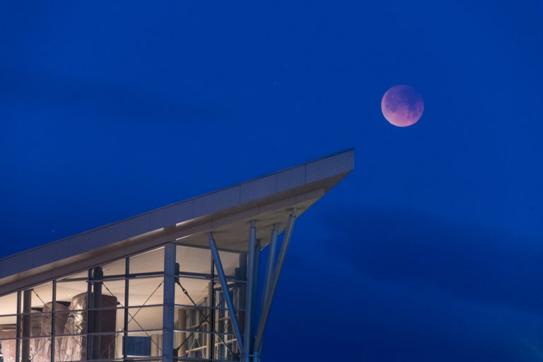 The Little Shop of Physics hosts a viewing party for the Lunar Eclipse on January 31, 2018. It was simultaneously a Blue Moon, Blood Moon and a Super Moon.